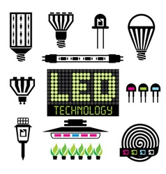 LED lighting icons set vector image vector image