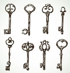 Set of vintage keys drawings vector image