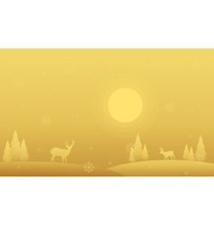 Silhouette of spruce and deer winter Christmas vector image vector image