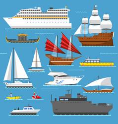 super set of water ships boats transport vector image