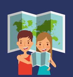 travelers couple tourist with folded map and world vector image vector image