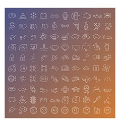 100 line icons set vector