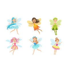 adorable little fairies in colorful dresses vector image