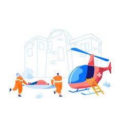 ambulance medical staff service medic rescuers vector image