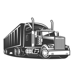 American truck trailer black and white vector
