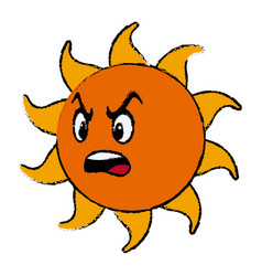 angry sun cartoon mascot character vector image