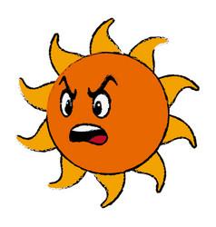 Angry sun cartoon mascot character vector