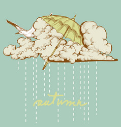 autumn background umbrella flying up in the sky vector image