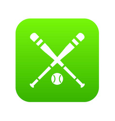 baseball bat and ball icon digital green vector image