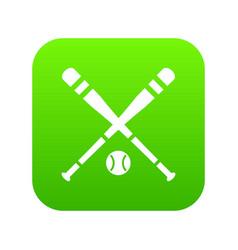 baseball bat and ball icon digital green vector image