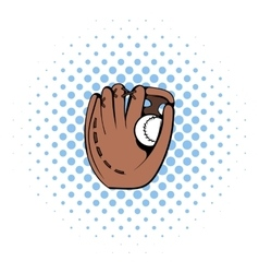 Baseball glove icon comics style vector image