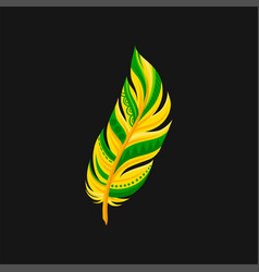 beautiful bright abstract yellow and green feather vector image