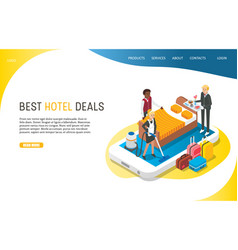 best hotel deals landing page website vector image