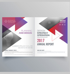 Bifold brochure template design with triangle vector