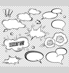 big set of cartoon comic speech bubbles empty vector image