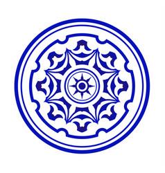 blue and white mandala vector image