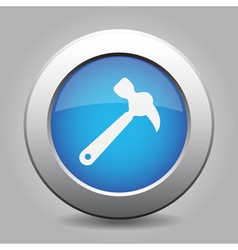 blue metal button with claw hammer vector image