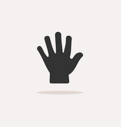 body senses tact hand icon with shadow on beige vector image