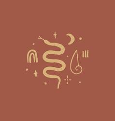 Boho moon snake and magical symbols art vector