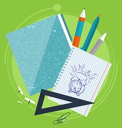 Books and school process Writing Drawing in vector image