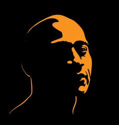 Brutal man portrait silhouette contrast in light vector