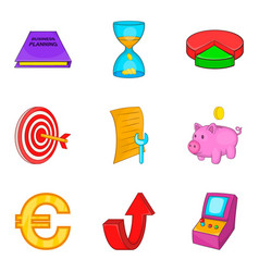 Budget calculation icons set cartoon style vector