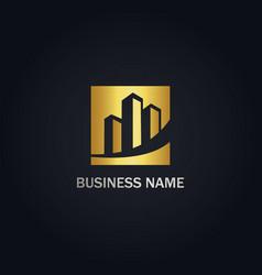 Building cityscape company gold logo vector