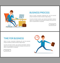 business process and time of businessman with case vector image