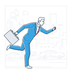 Businessman late for a meeting - line design style vector