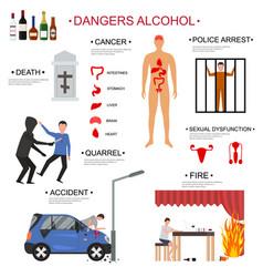 Cartoon alcoholism infographics concept card vector