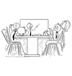 Cartoon of group of mad business people on meeting vector