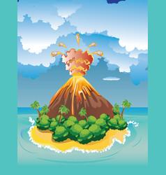 cartoon volcano eruption vector image vector image