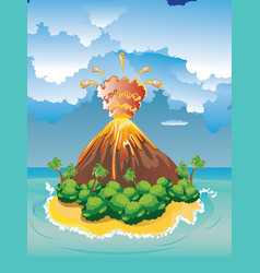 Cartoon volcano eruption vector
