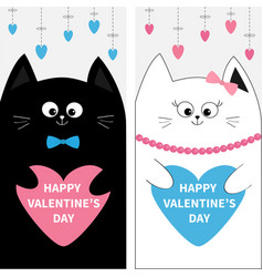 cat family couple holding blue pink heart shape vector image