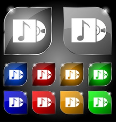 Cd player icon sign set of ten colorful buttons vector