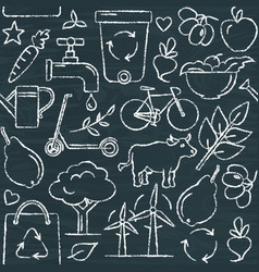 Chalkboard seamless pattern with eco symbols in vector