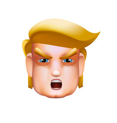 character portrait icon of donald trump giving a vector image