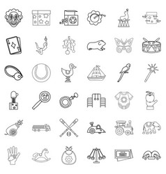 Childhood icons set outline style vector