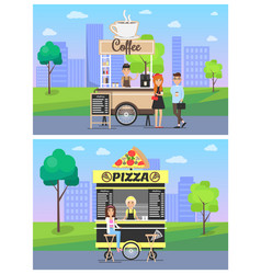 coffee pizza stalls collection vector image
