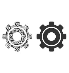 cog collage of service tools vector image