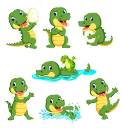 Collection of cute alligator character cartoon vector