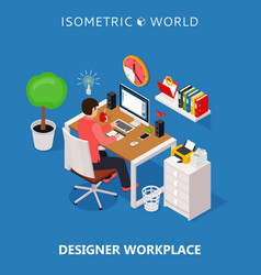 colored 3d isometric freelance designer workplace vector image