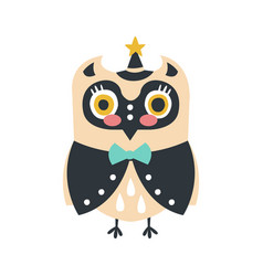 cute cartoon owl bird in smart clothes and a hat vector image