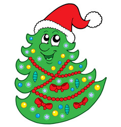 Cute christmas tree with hat vector