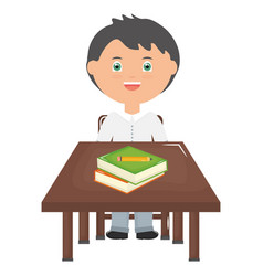 cute little student boy with books in schooldesk vector image