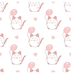 Cute seamless pattern with cat and balloon vector image