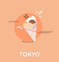 Delicious ice cream dessert tokyo design vector