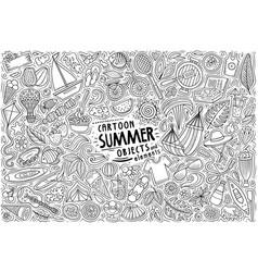 Doodle cartoon set summer theme objects vector