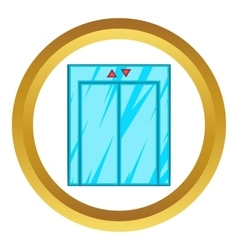 Elevator with closed door icon vector