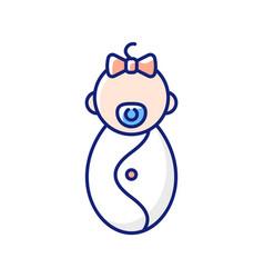 Female newborn rgb color icon vector